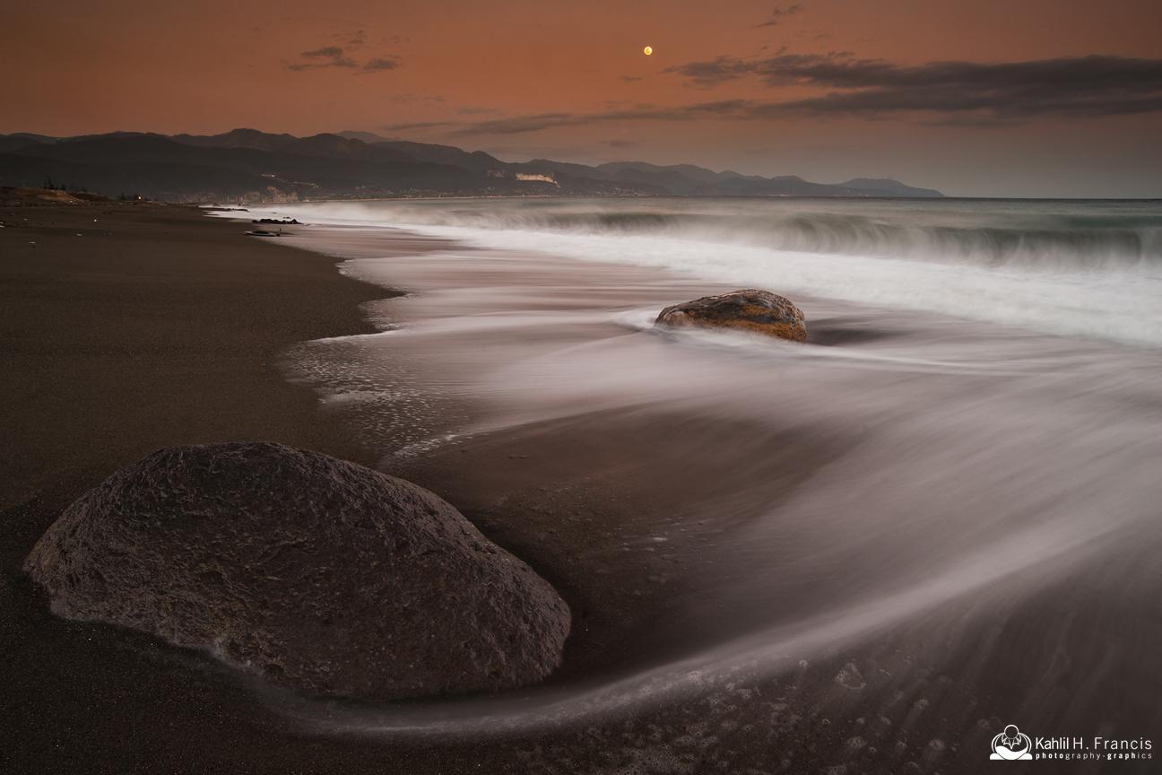 Rocks, Surf, Foam and Moon