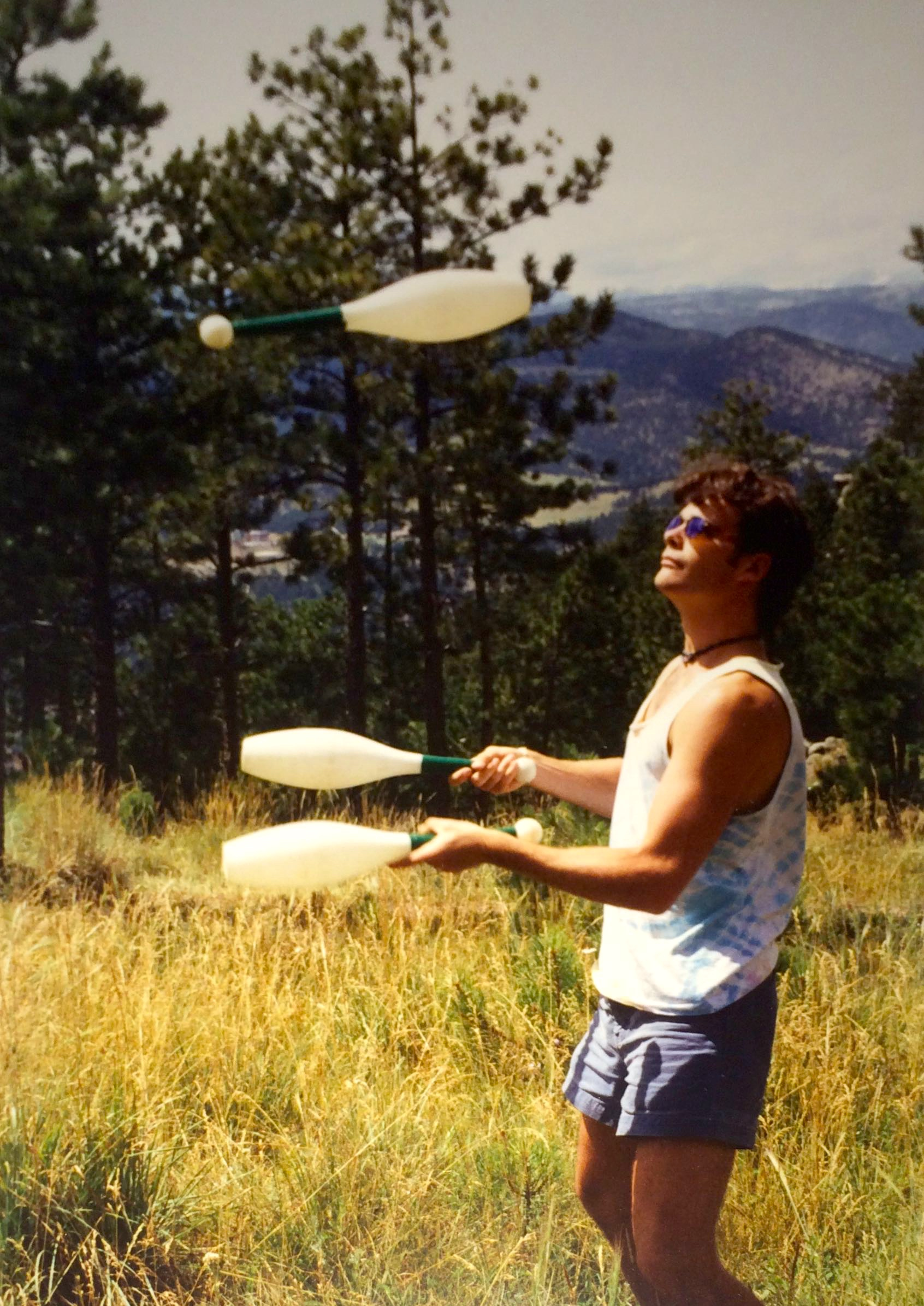 Learning to juggle clubs in the mountains... before all hell broke loose.
