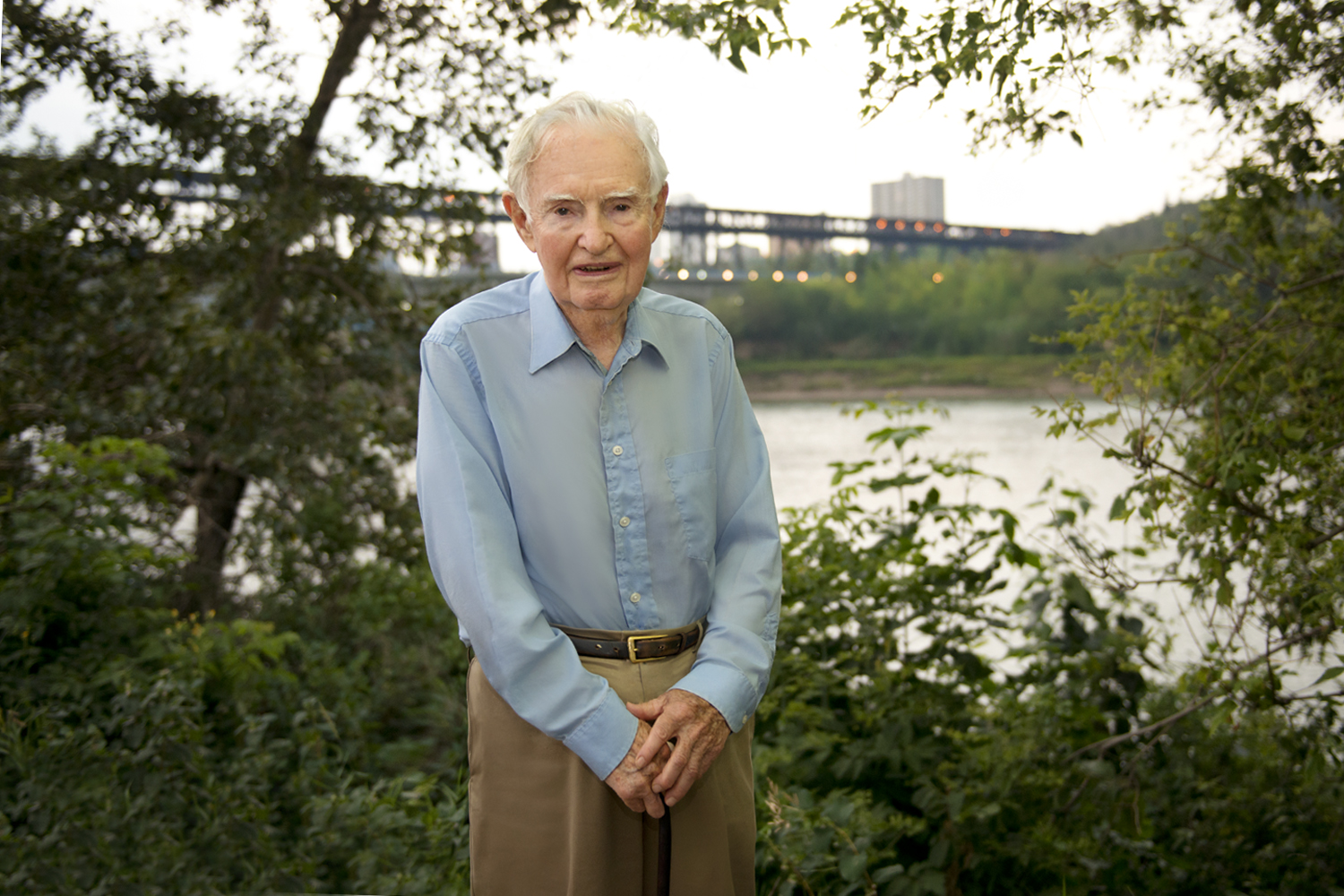 The Author, a sharp 91years young, on the bank of the North Saskatchewan River overlooking the High Level Bridge, not far from theformer site of John Walter's Ferry.   This portrait was taken as part of the Author'sinvestiture with the  Alberta Order of Excellence  .
