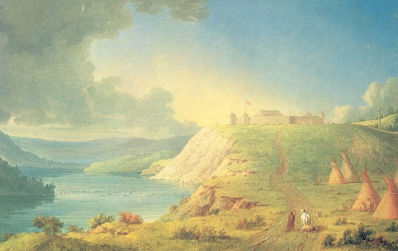 Fort Edmonton  up there on the cliff.   Painted by Paul Kane, 1846   Image from  Wikipedia