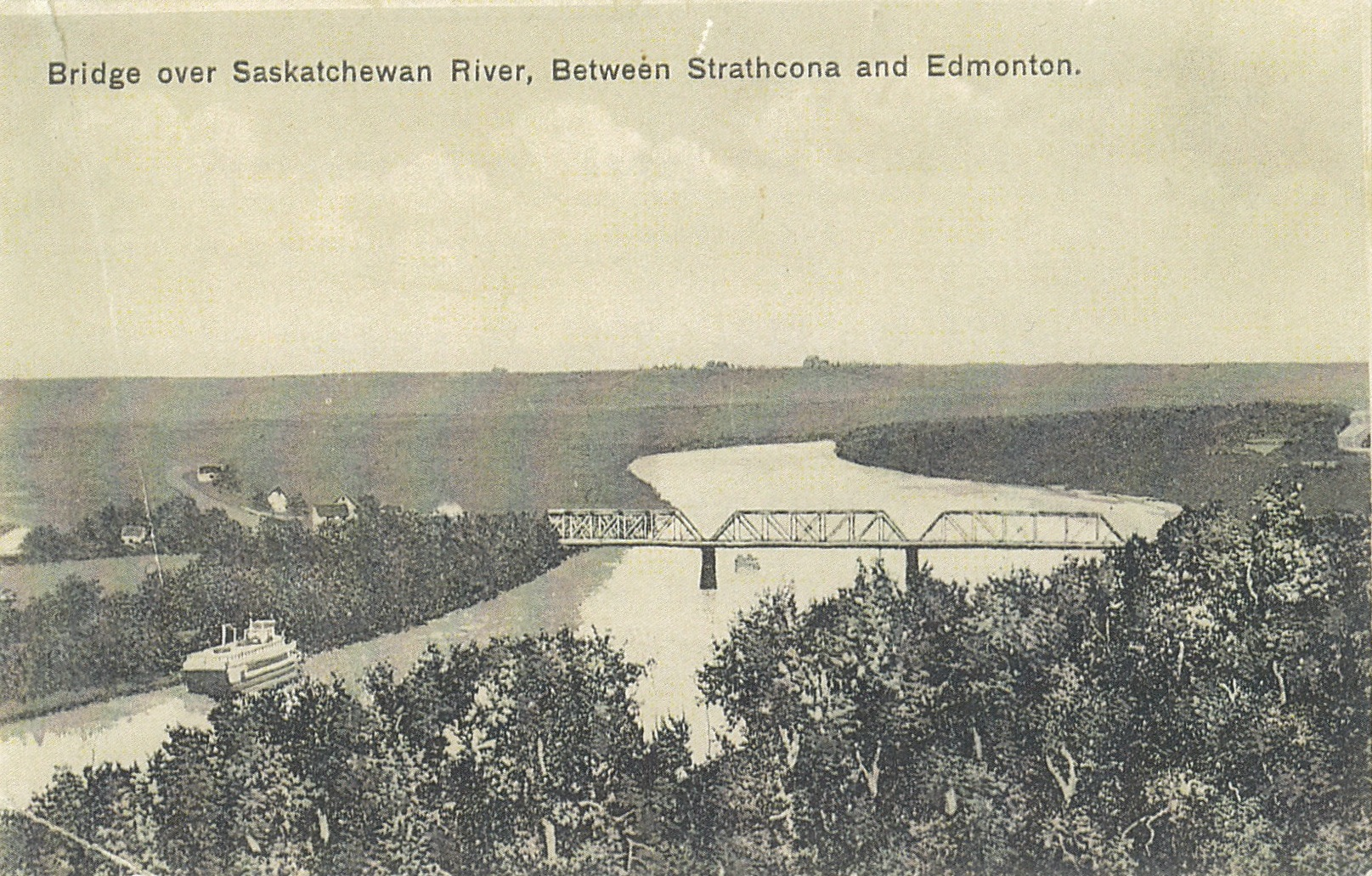 From the site of the Shaw Conference Centre... Circa 1912...   A postcard shows the Low Level Bridge with John Walter's steamboat EDMONTON passing the present landing of the EDMONTON QUEEN.