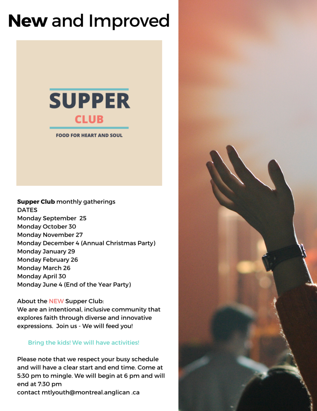 Supper Club schedule Anglican Diocese of Montreal