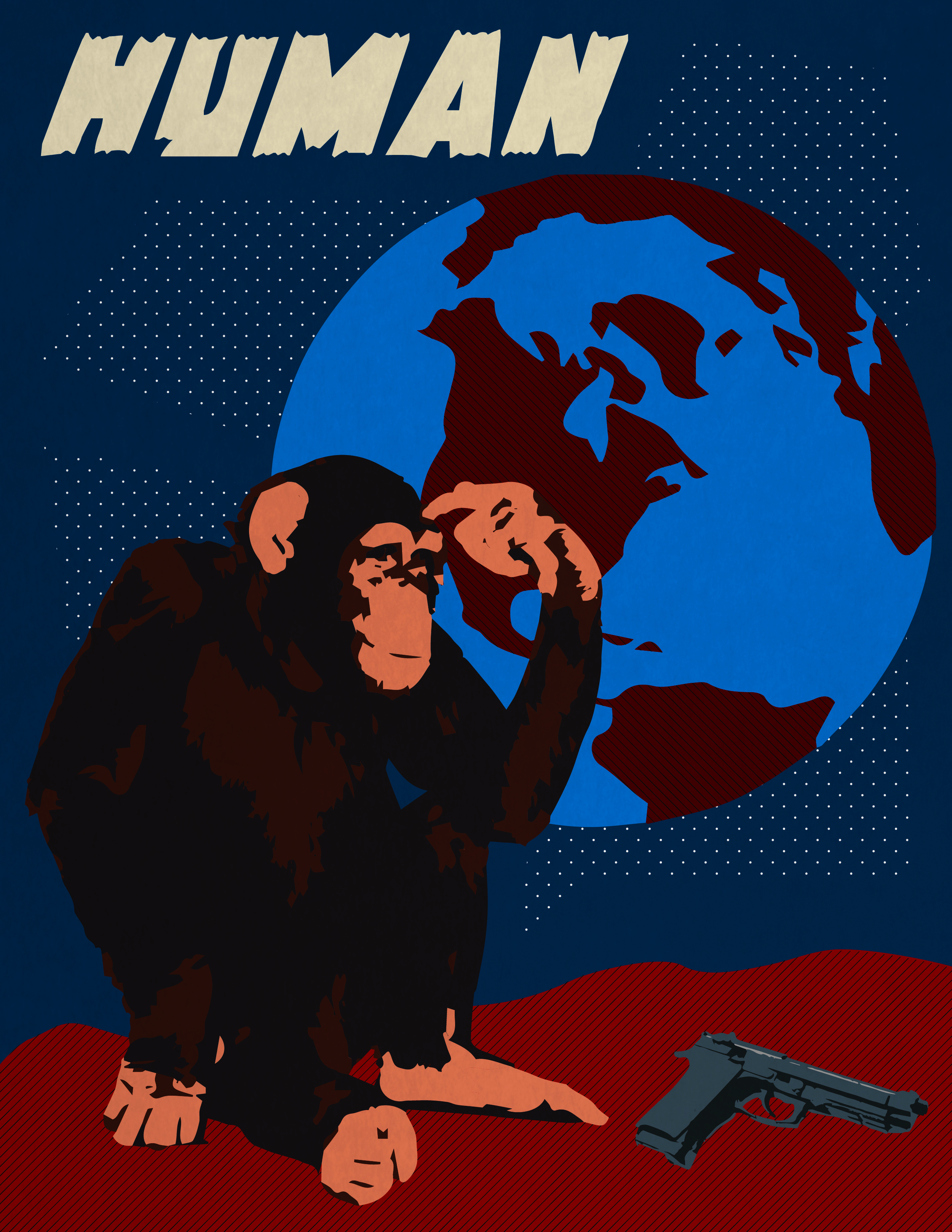 Monkeys with guns, 2012.  Constructivist inspired style.