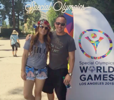 If you didn't know the #SpecialOlympics are in town. #LA is hosting events all over the city. Earlier we saw the USA #NewJersey team kick butt in volleyball against Serbia. It was an awesome game. We just saw a grand slam at the #USA v. #DomicanRepublic softball game. It's seriously SO much fun! If you have time you should come out and support the athletes that have traveled from all over the globe to our city to compete. Awesome birthday weekend!! #ReachUpLA