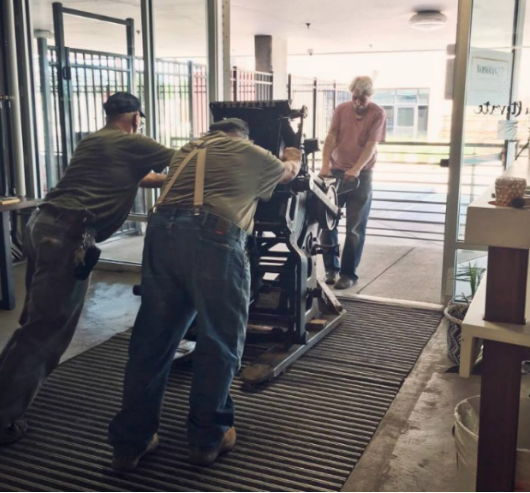 Tom and Marc helping Letterpress Depot member Natalie Zanecchia move her C&P!