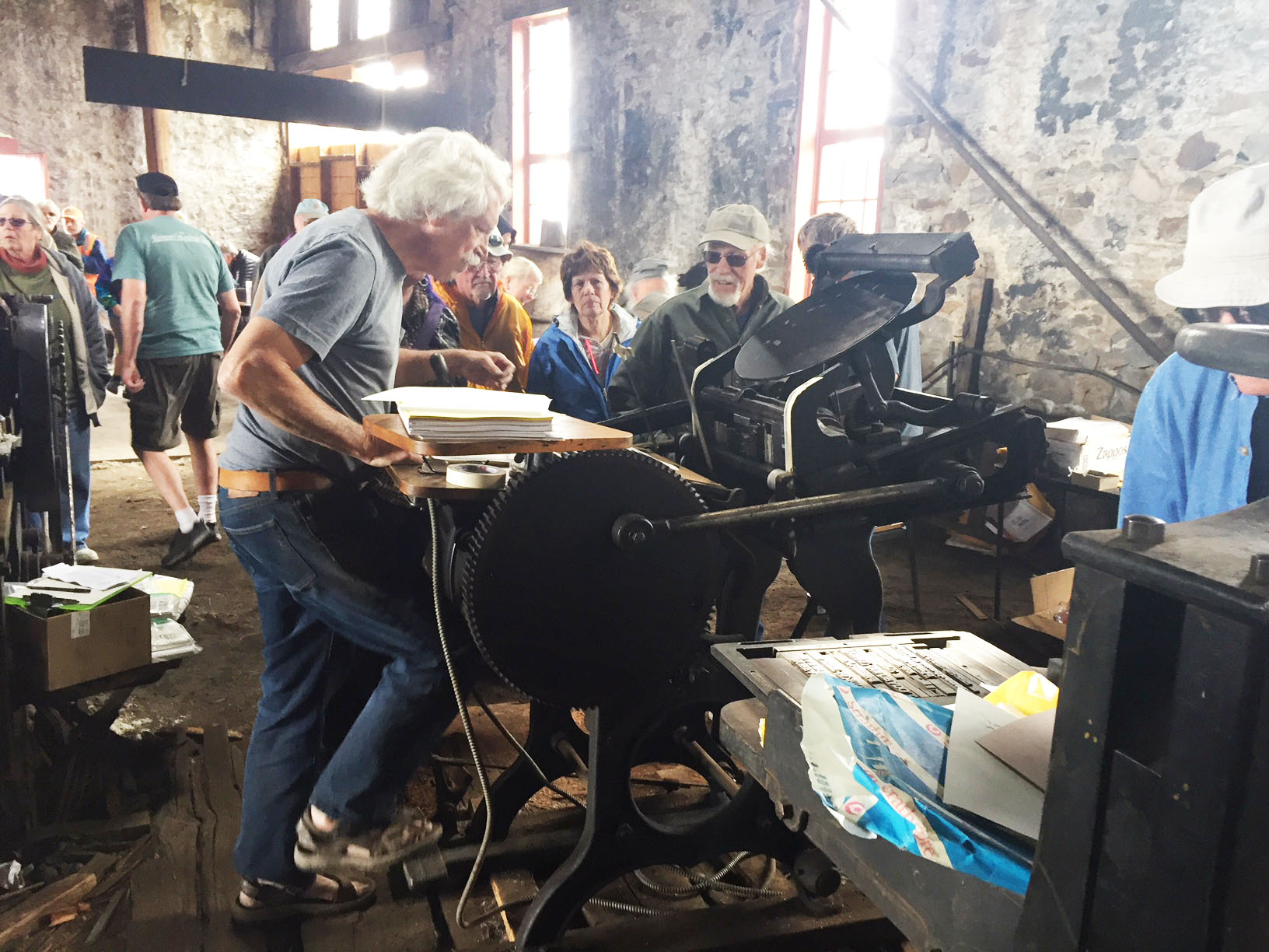 The old Fairplay Flume printing press ran for the day. Photo by Bob Schoppe.