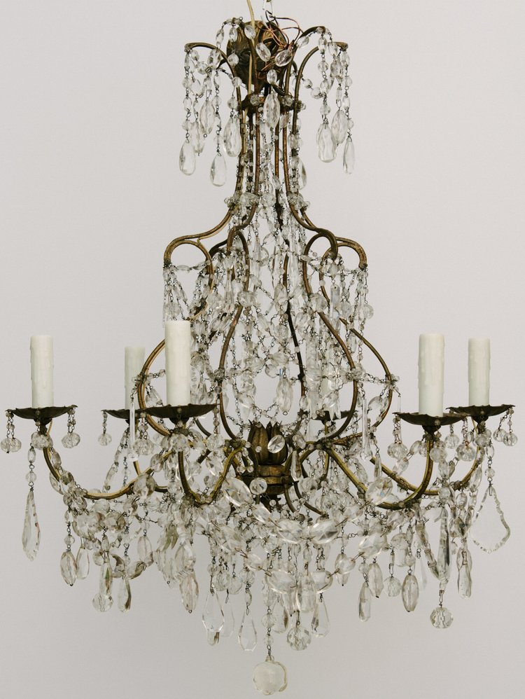 1940 S French Crystal Beaded Chandelier Moxie