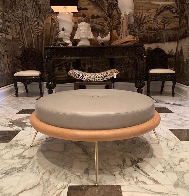 Custom Robsjohn Gibbings style leather ottoman. #upholstery #customupholstery #bespoke #furniture #customfurniture #interior #antiques #homedecor #houston #interiordesign #picoftheday #whiteoak #photooftheday #instalove