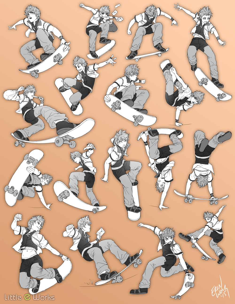 Practice with drawing bodies in motion. Character is from Kingdom Hearts.