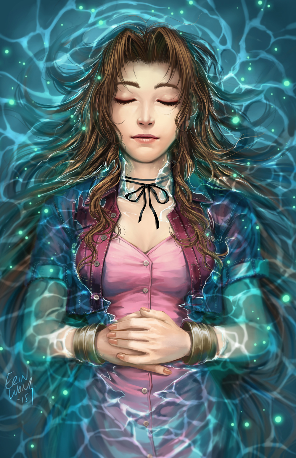 "Digital painting of Aerith Gainsborough from Square Enix's ""Final Fantasy VII"" game."