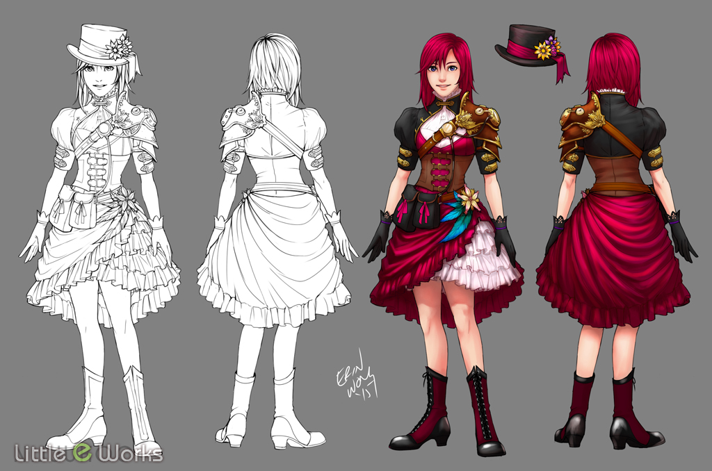 Steampunk Costume design for Kairi from Kingdom Hearts Series