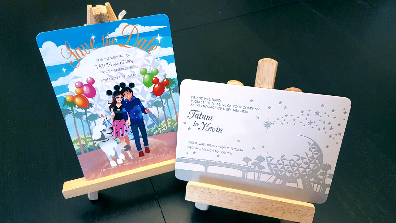 Disney themed wedding invitation and Save-the-Date cards designed for client. Photo edited for privacy.