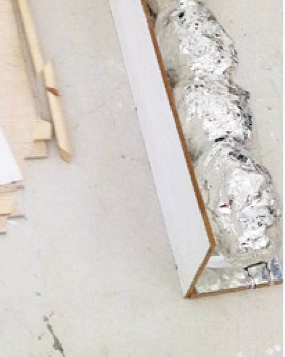Practical Beauty«tapestry (fiberglass, linen, silk), light tube, chromed plaster, glass, painted plywood, drawing on paper, aluminium… OK Corral, Copenhagen -