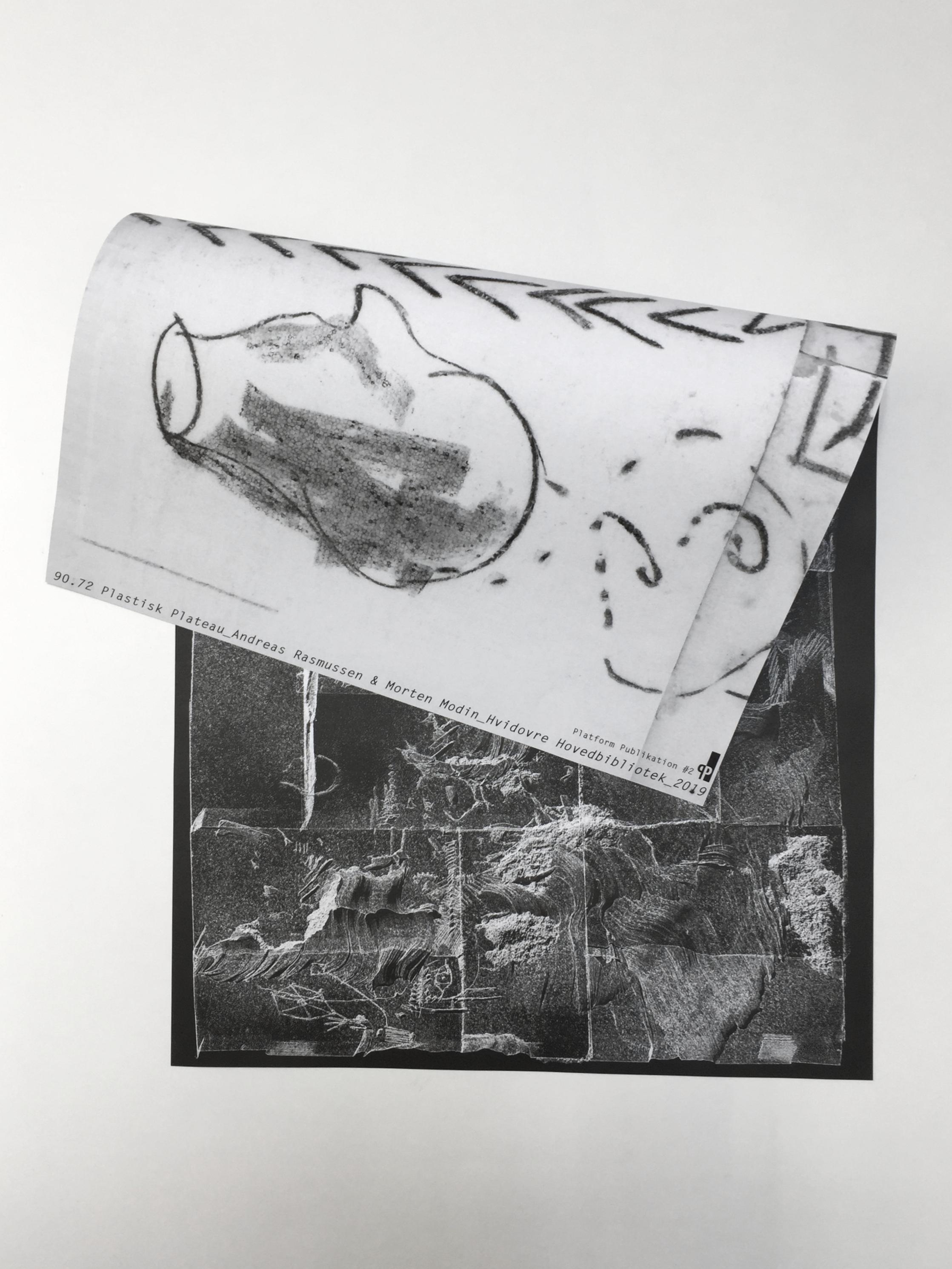 90.72 Plastisk Plateau« A collaborative sculpture project with Morten Modin, Styrofoam, neon light, charcoal drawing…Hvidovre Hovedbibliotek, DK -