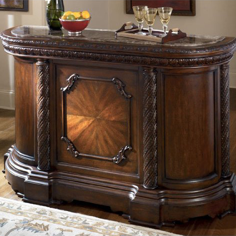 Old World Dark Brown North Shore Bar with Marble Top.jpg