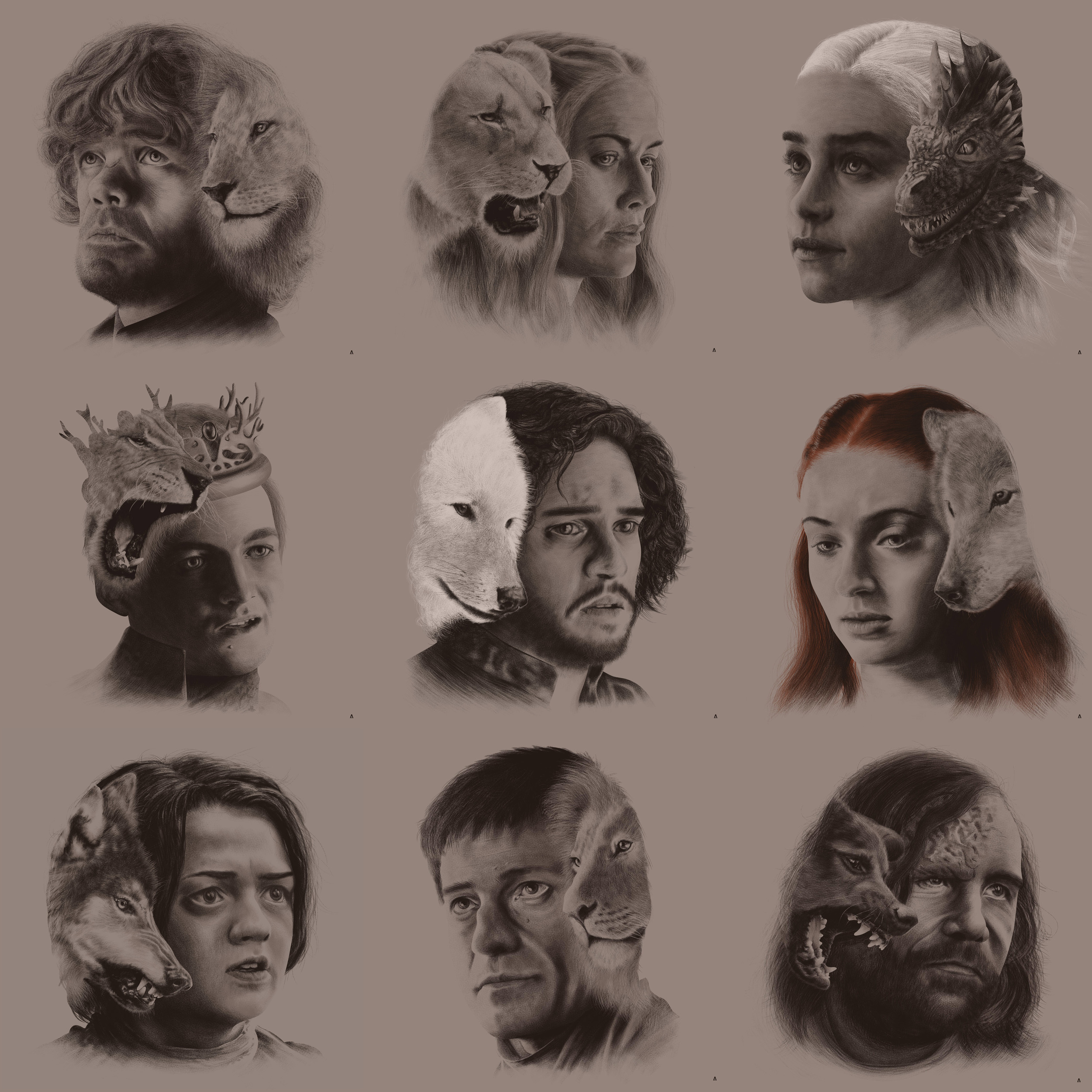 Game of Thrones - Portraits  Regular Portraits or House Sigil Versions Editions of 50ea Giclee $30USD ea