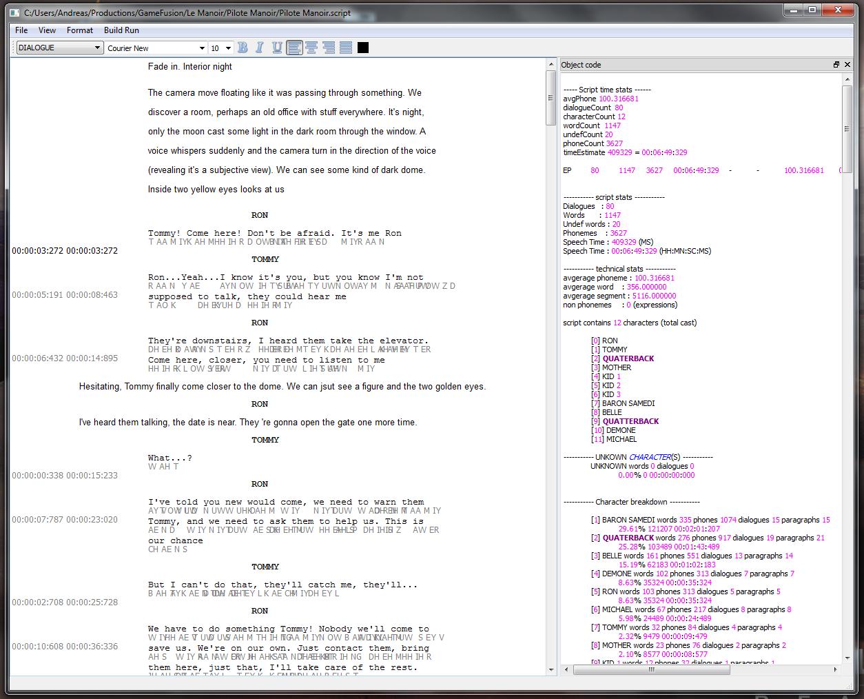 SCREEN TIME - QT interface script writing software 2013
