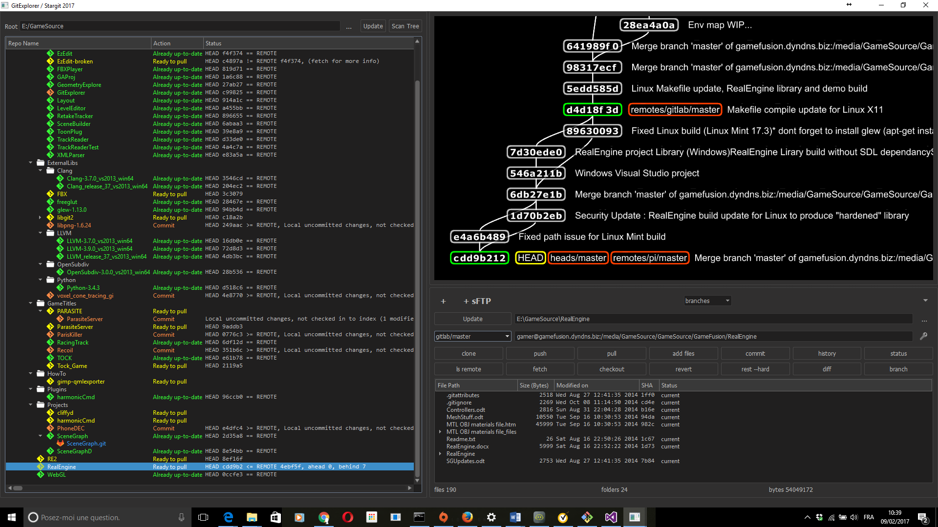 Multi repository source code project navigation with status overview and version control. To the left we visualize a dash board of repositories and sub-repositories, as seen stored locally on disk. To the right we can focus on a particular repository which offers a 3D visualisation of the commit history and standard git functionality.