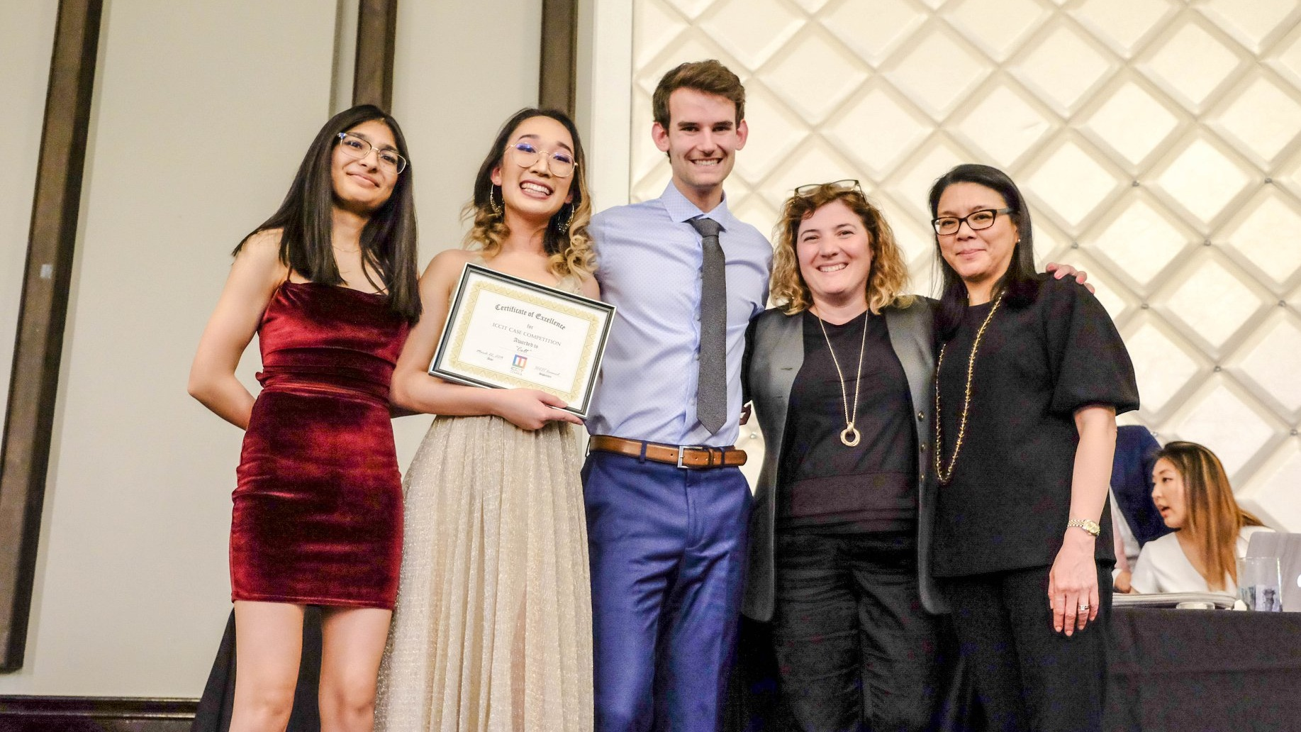 The winning team in Glenn Davis Group and the University of Toronto's inaugural Case Competition is pictured here with Celeste Mendonca, VP HR, and Lisa Olay, Designer, representing Glenn Davis Group.