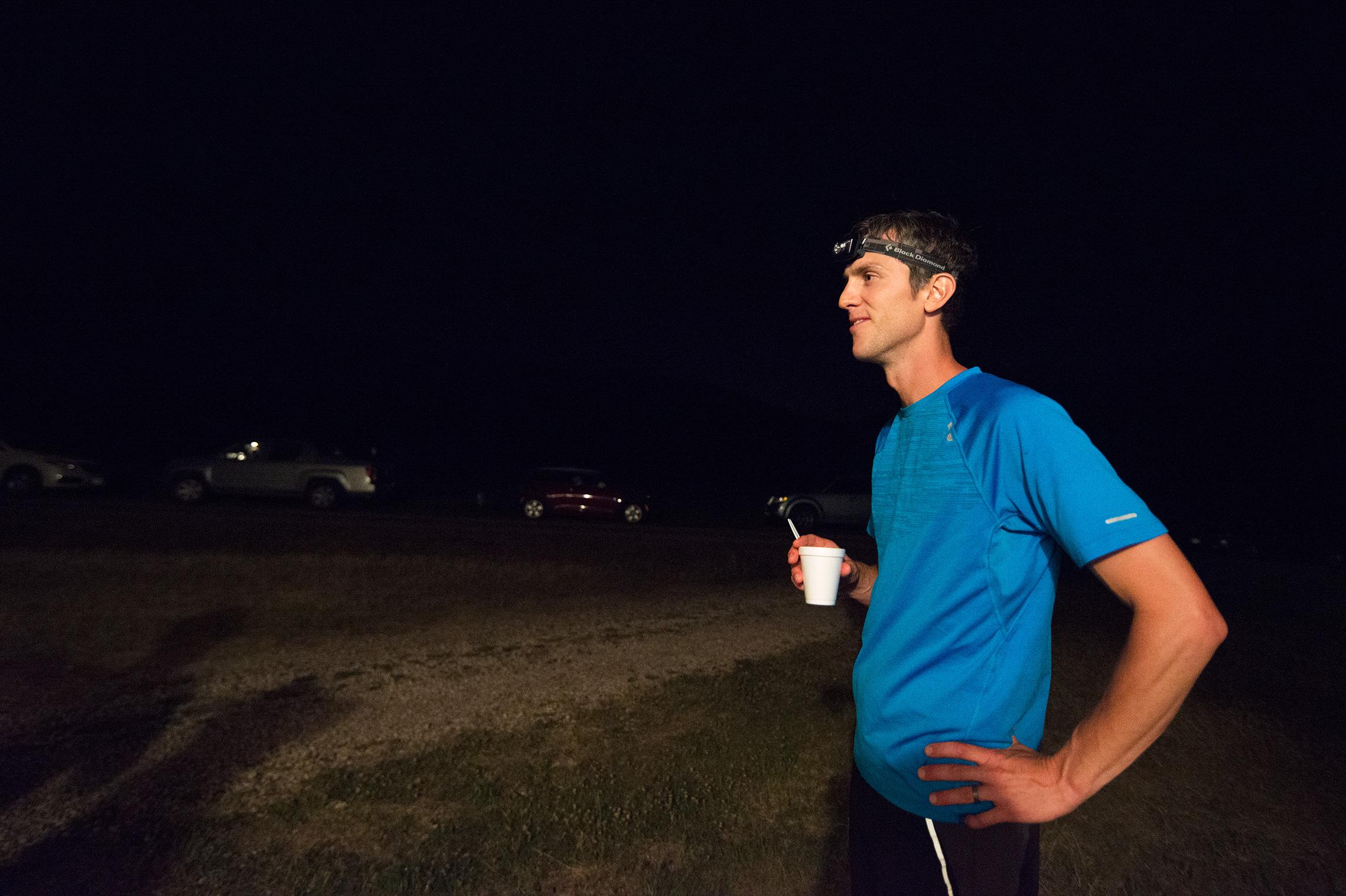 Ultra Marathon Runner at Aid Station