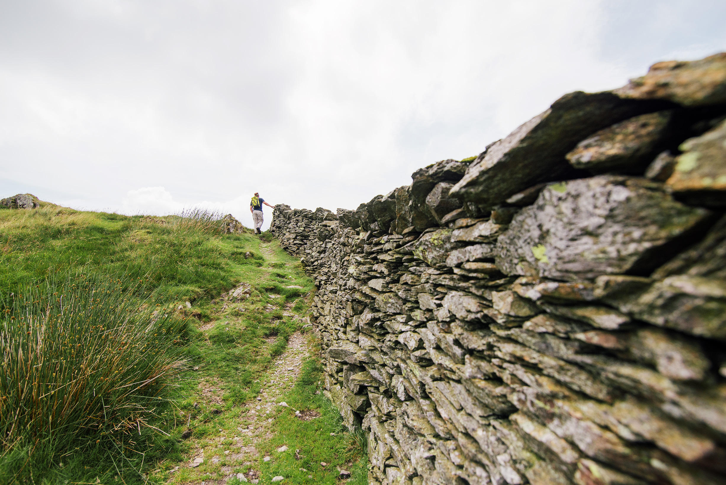 Rock wall and hike in the Lake District, United Kingdom
