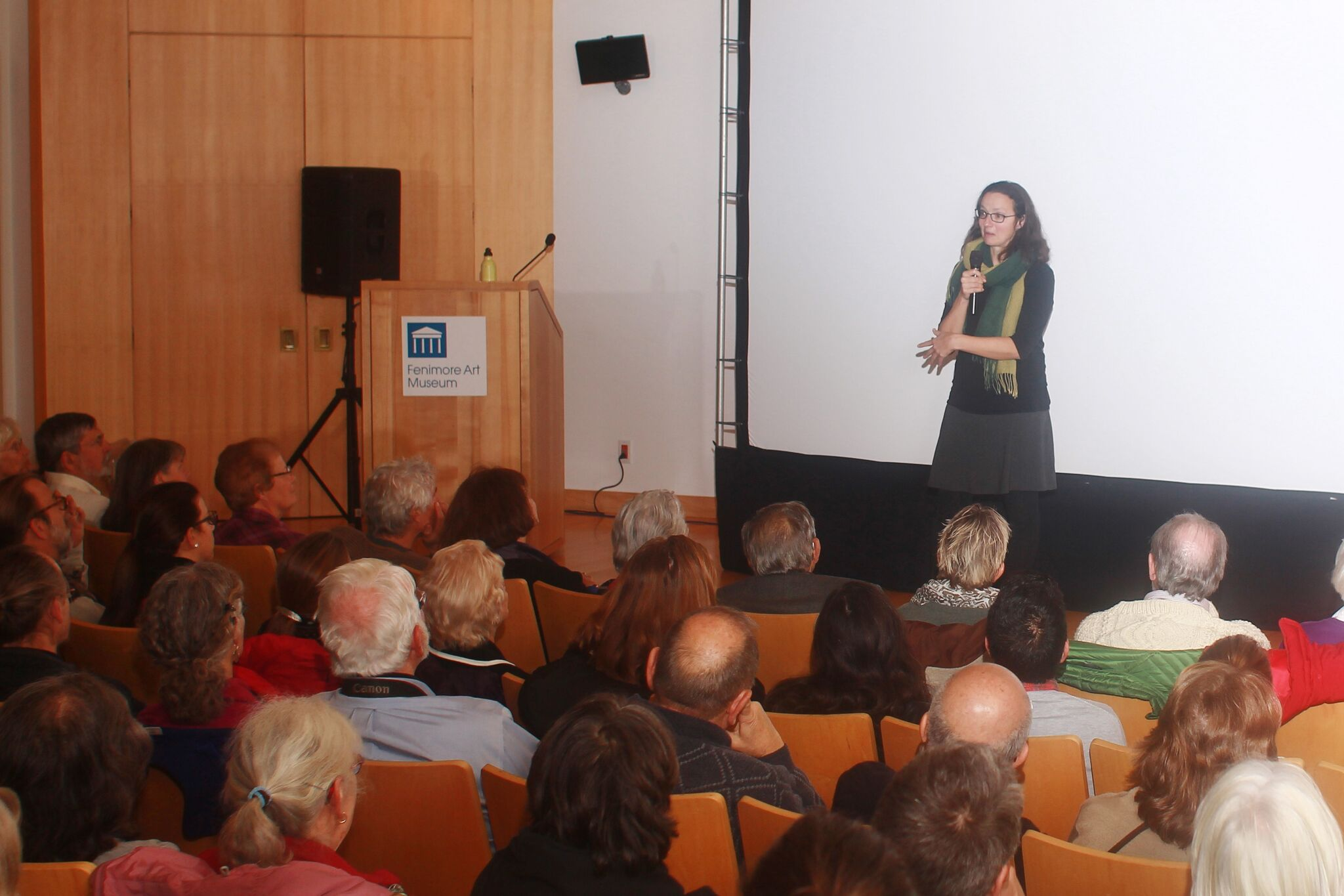"""Director Suzanne Crocker talks about her film """"All the Time in the World"""" in the Fenimore Art Museum auditorium at the 2016 Film Days."""