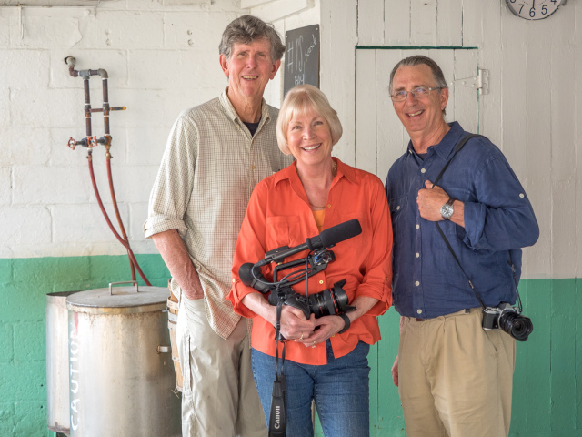 Sandy Cannon-Brown, pictured here with with co-directors Tom Horton and Dave Harp, will discuss her film High Tide in Dorchester.