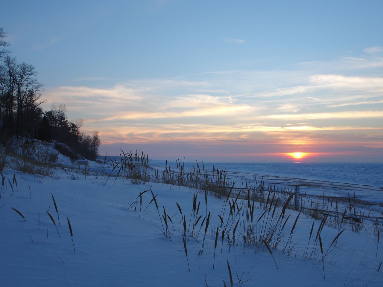 Winter Sunset at Pier Rd. Lakeside, MI