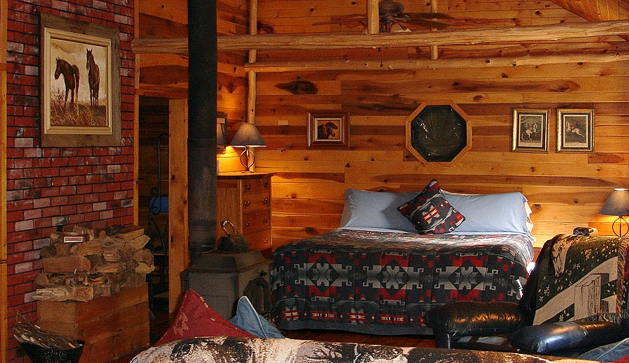 Bedroom in Dusty's Cabin with our Inn's only King sized bed