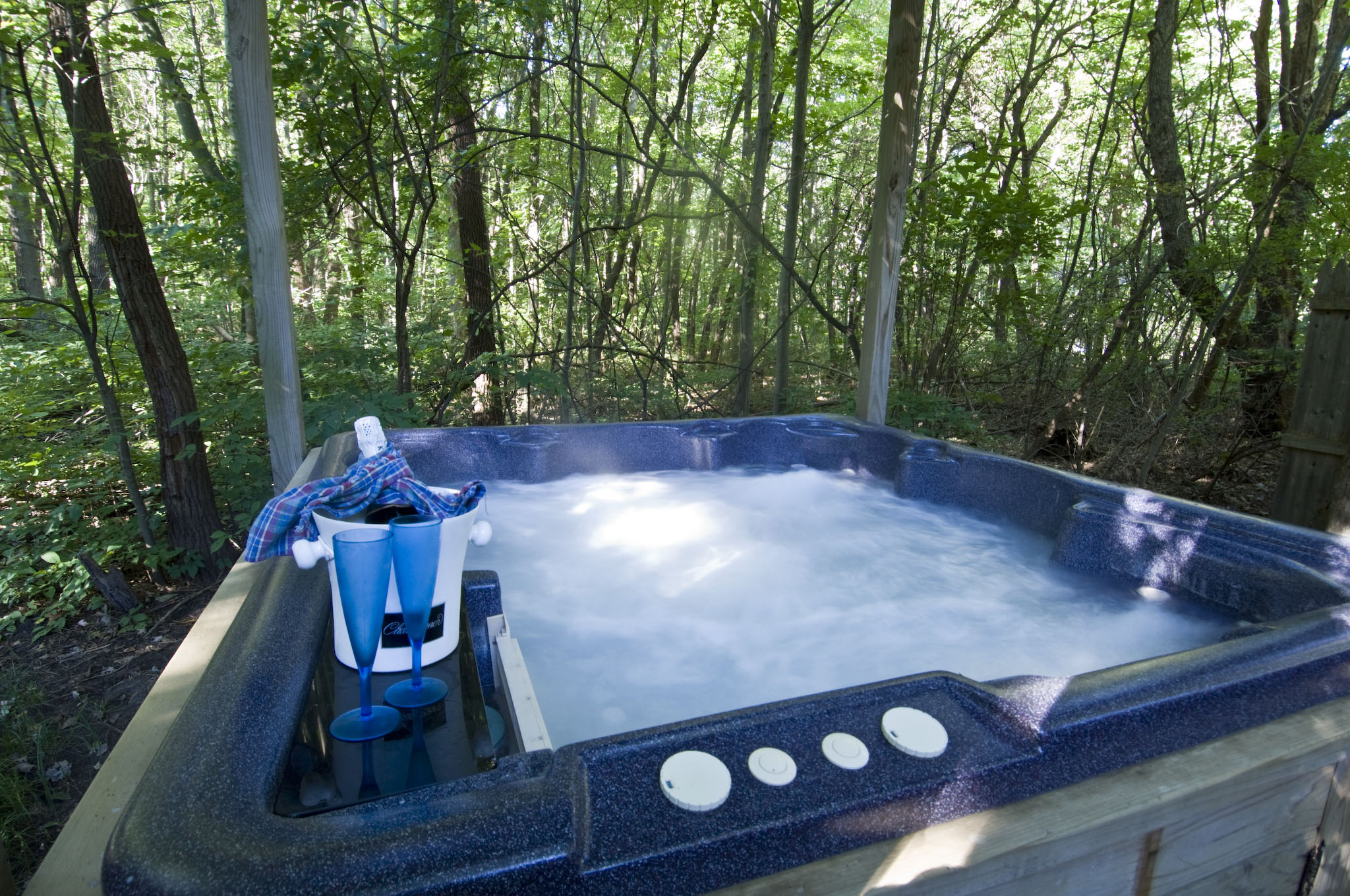 Private hot tub outside Dusty's Cabin