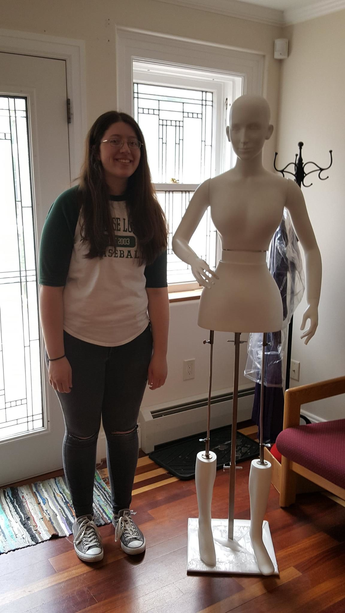 Me with our new mannequin, Coppélia, whom we put together during one of my first days as an intern.