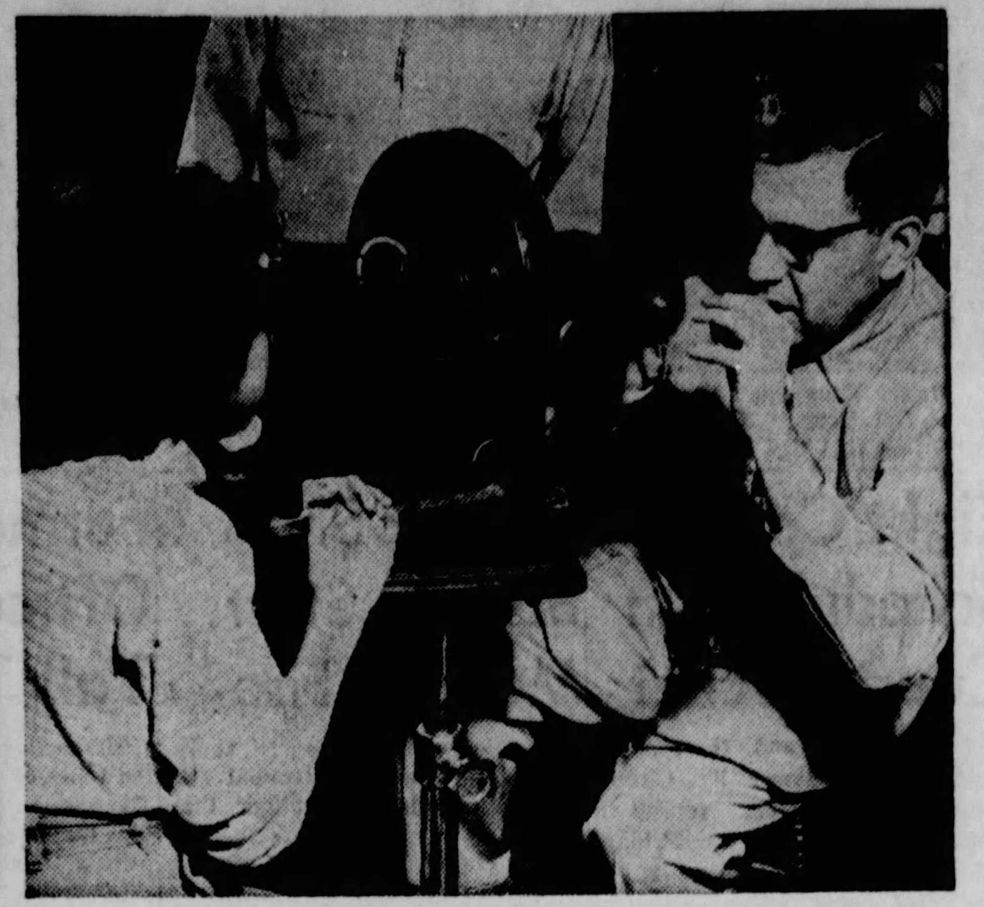 La Crosse Tribune clipping from March 10, 1955 showing Dr. Vaslow measuring the curvature of the eyes of Cynthia Whitewater for astimatism