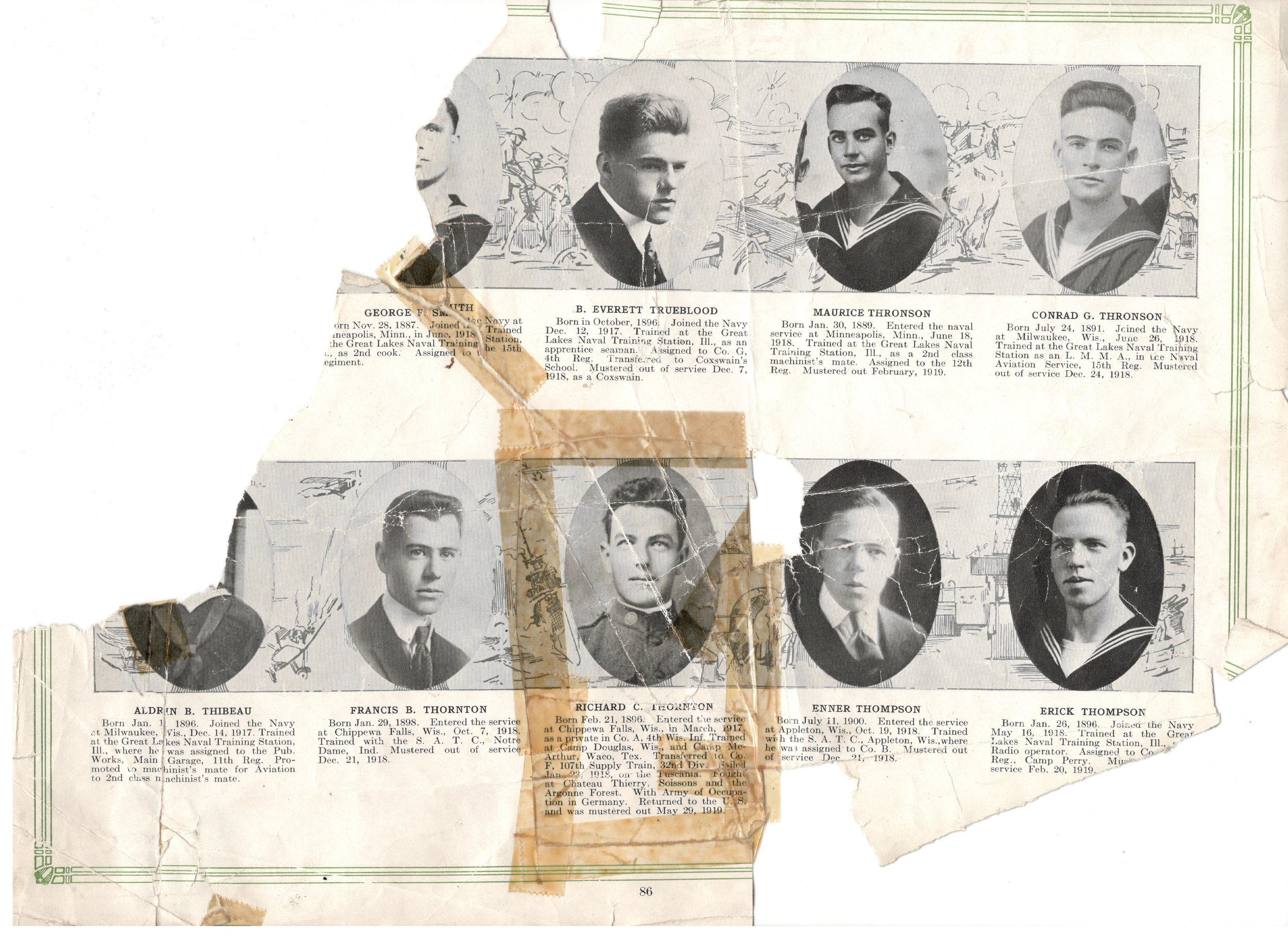 """Page with Richard and Francis from the """"HONOR ROLL CHIPPEWA COUNTY WISCONSIN"""" book. The page is loose from the book and has tape around the image of Richard. The photo and caption was cut out and taped back in."""