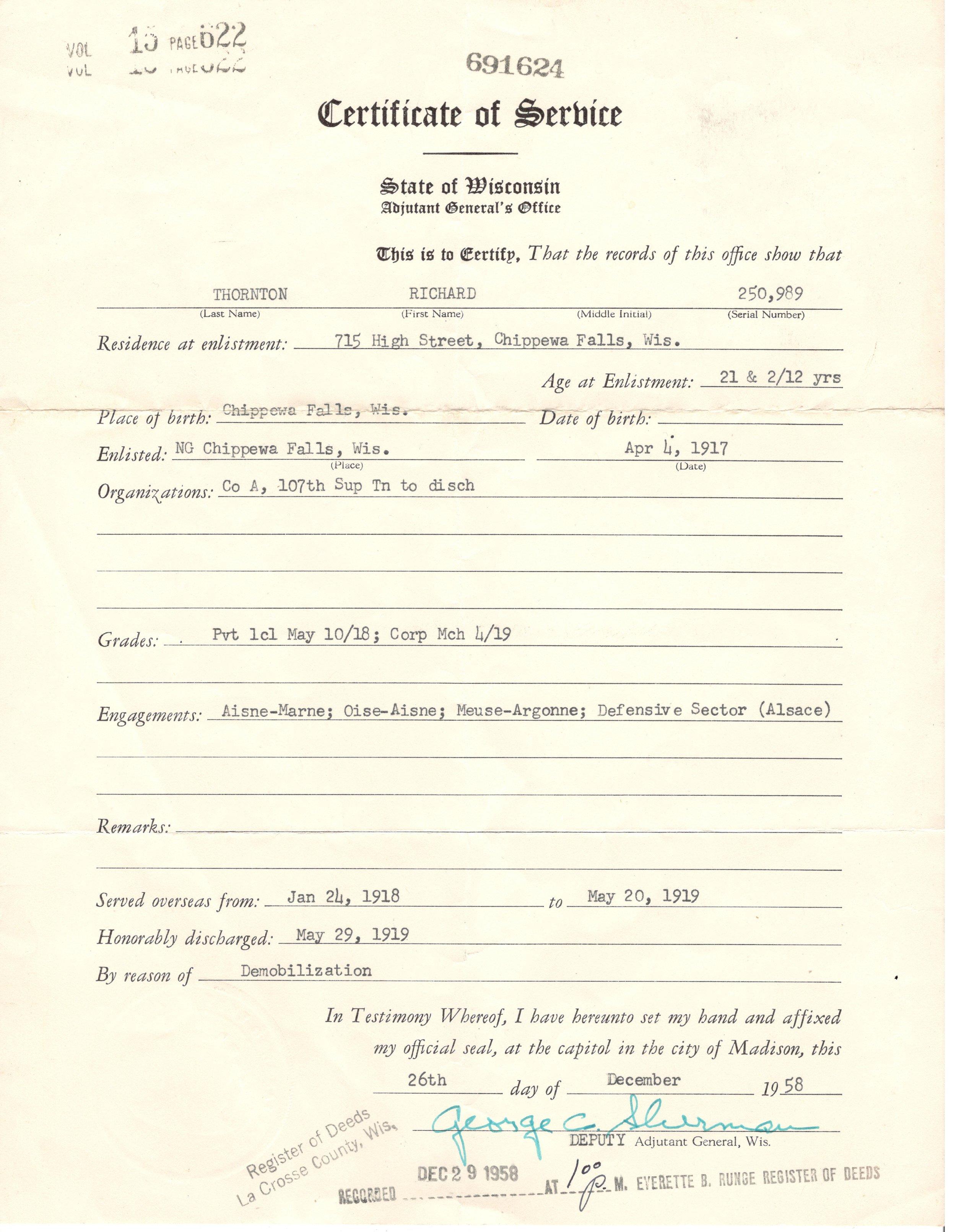 Richard's Certificate of Service.