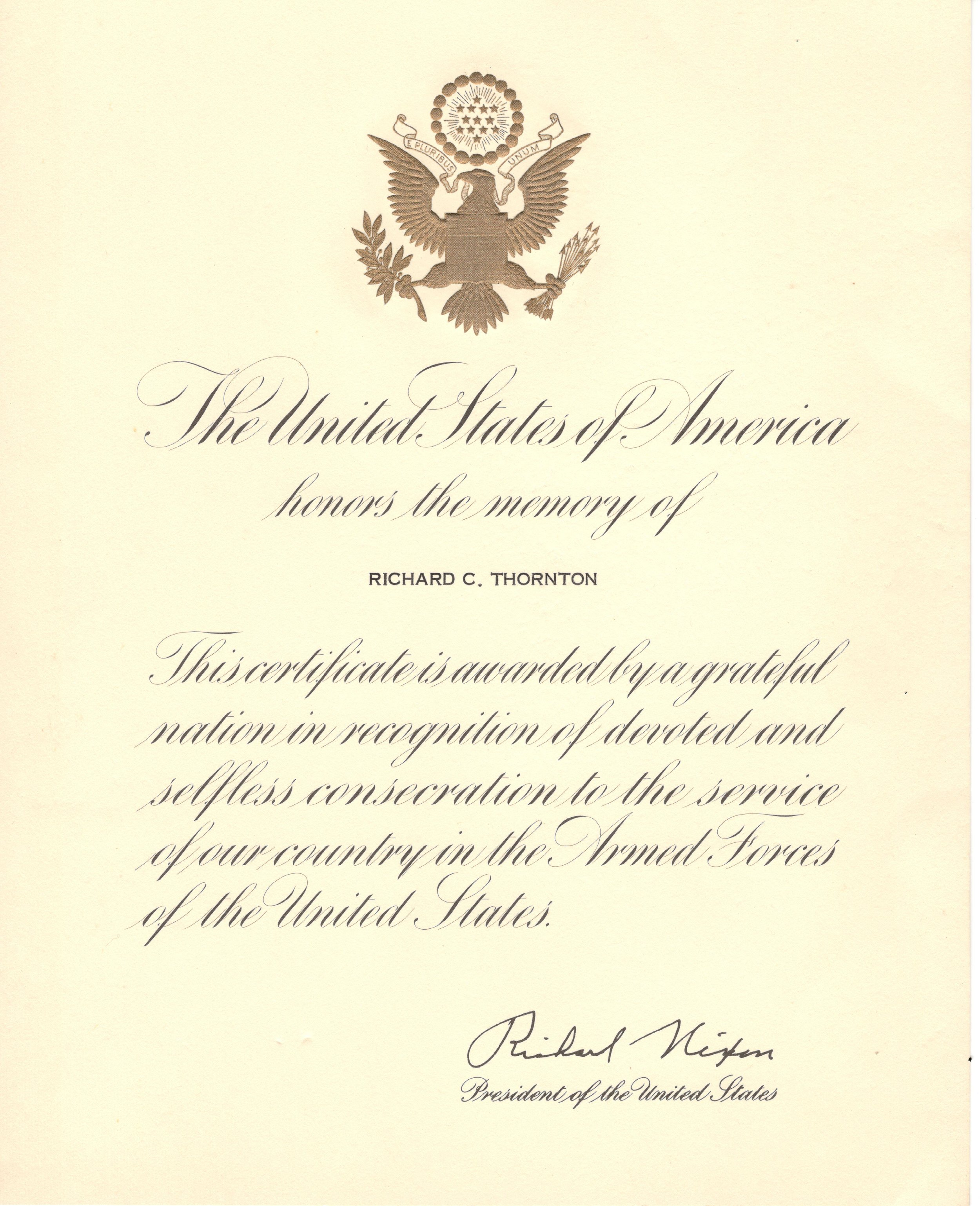 Memorial Certificate for Richard Thornton signed by Richard Nixon.
