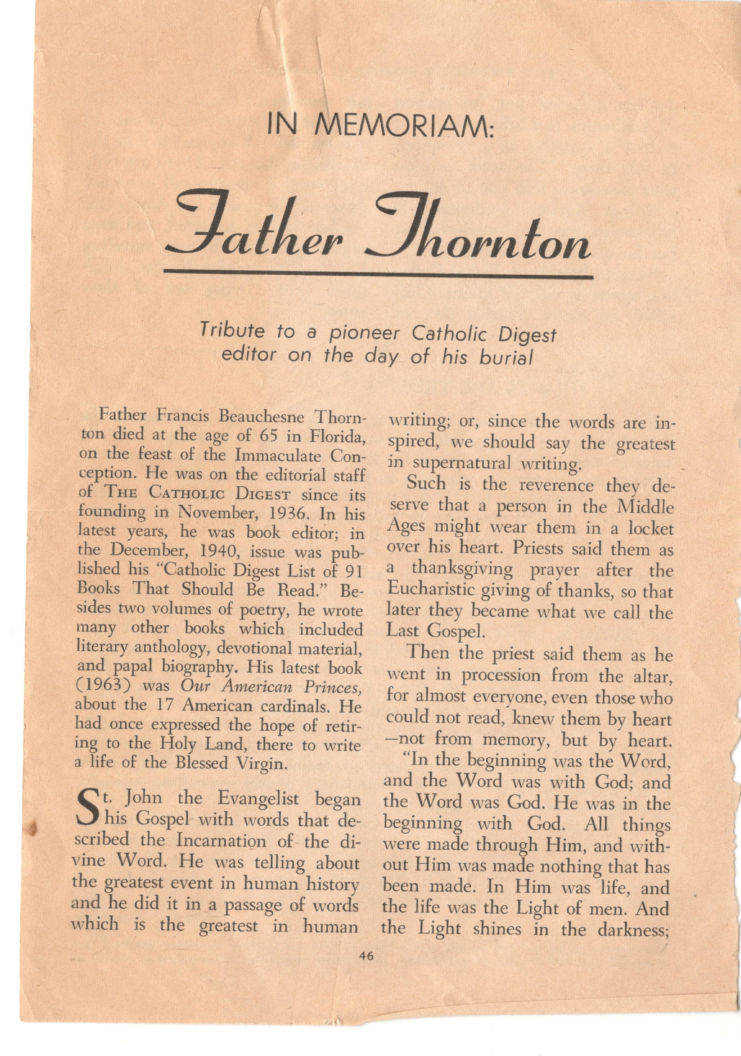 A tribute to Francis Thornton published in the Catholic Digest.