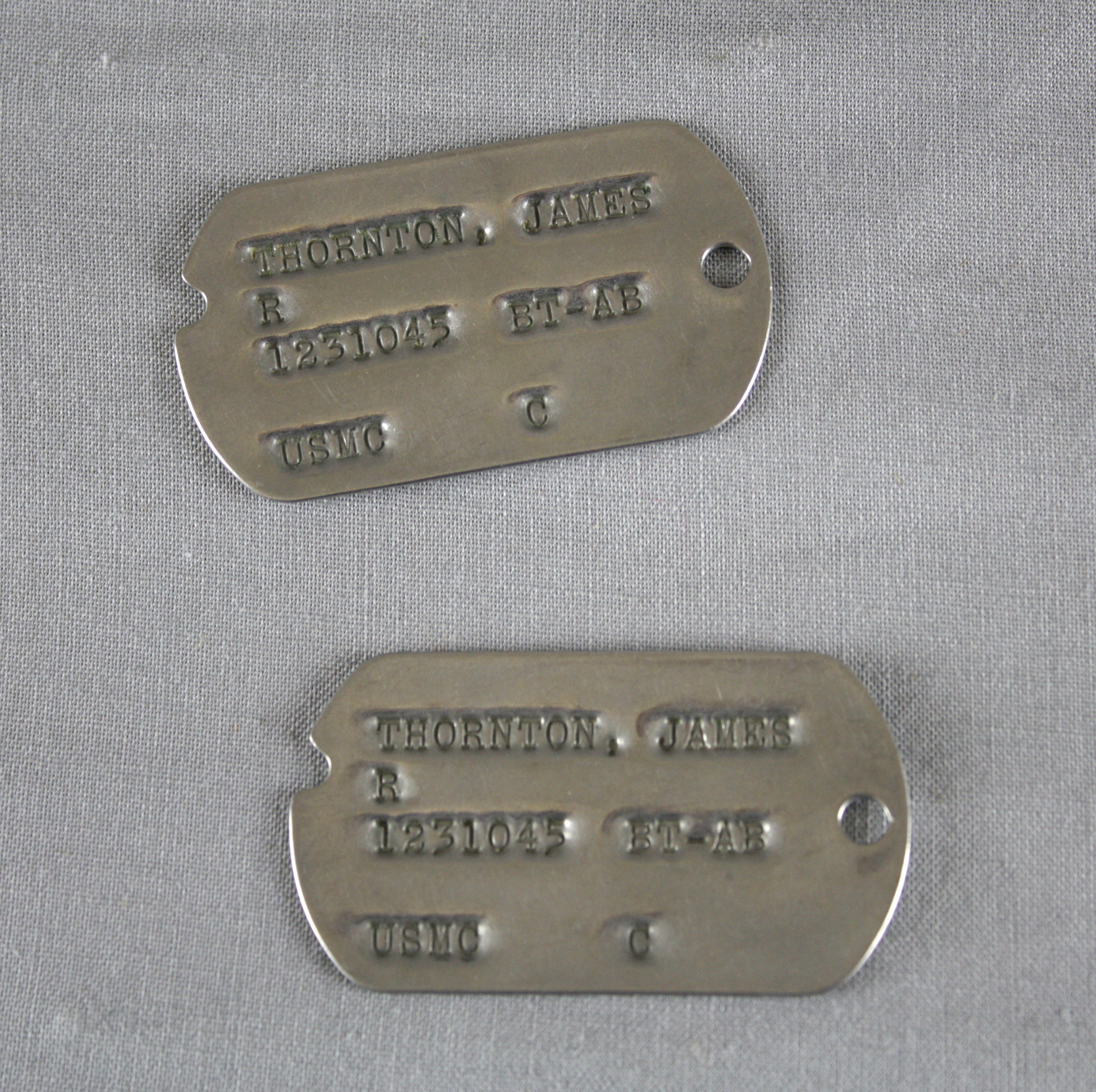 James Thornton's dog tags.