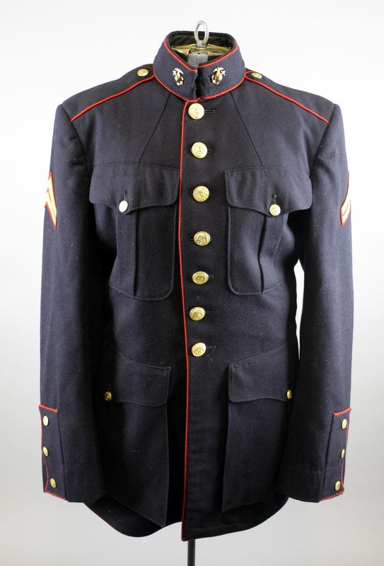This dress uniform belonged to R.E. Currie--an acquantaince of James Thornton in the same barracks, Thornton bought Currie's uniform when Currie left the service as it was in better shape than his own.