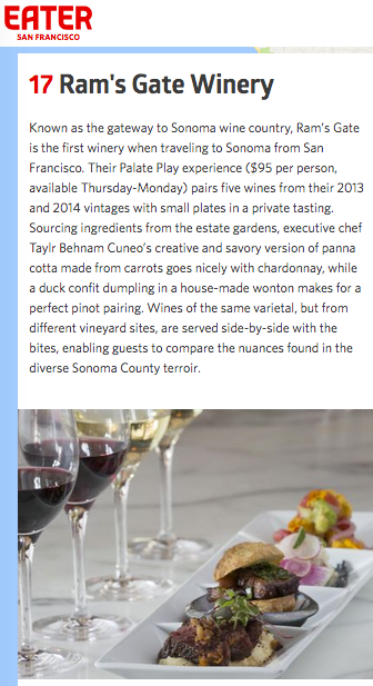 #17 Ram's Gate Winery. 17 Over-the-Top Food and Wine Pairings in Sonoma County. - Featured in Eater.