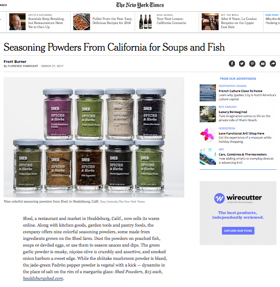 Healdsburg SHED. Seasoning Powders From California for Soups and Fish. - New York Times