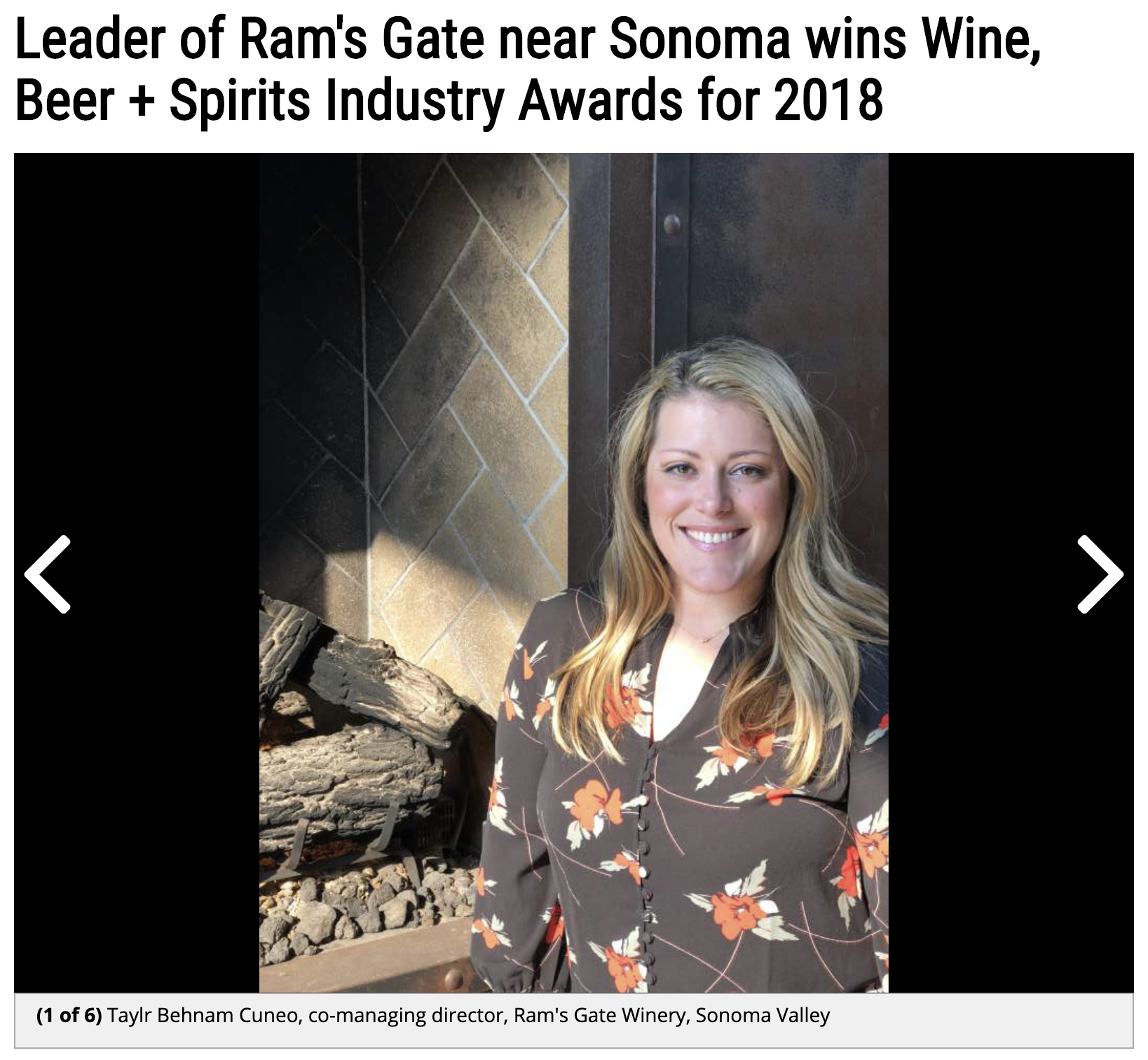 Beer & Spirits Award: Taylr Behnam Cuneo - North Bay Business Journal chose Taylr as Winery Director of the Year.