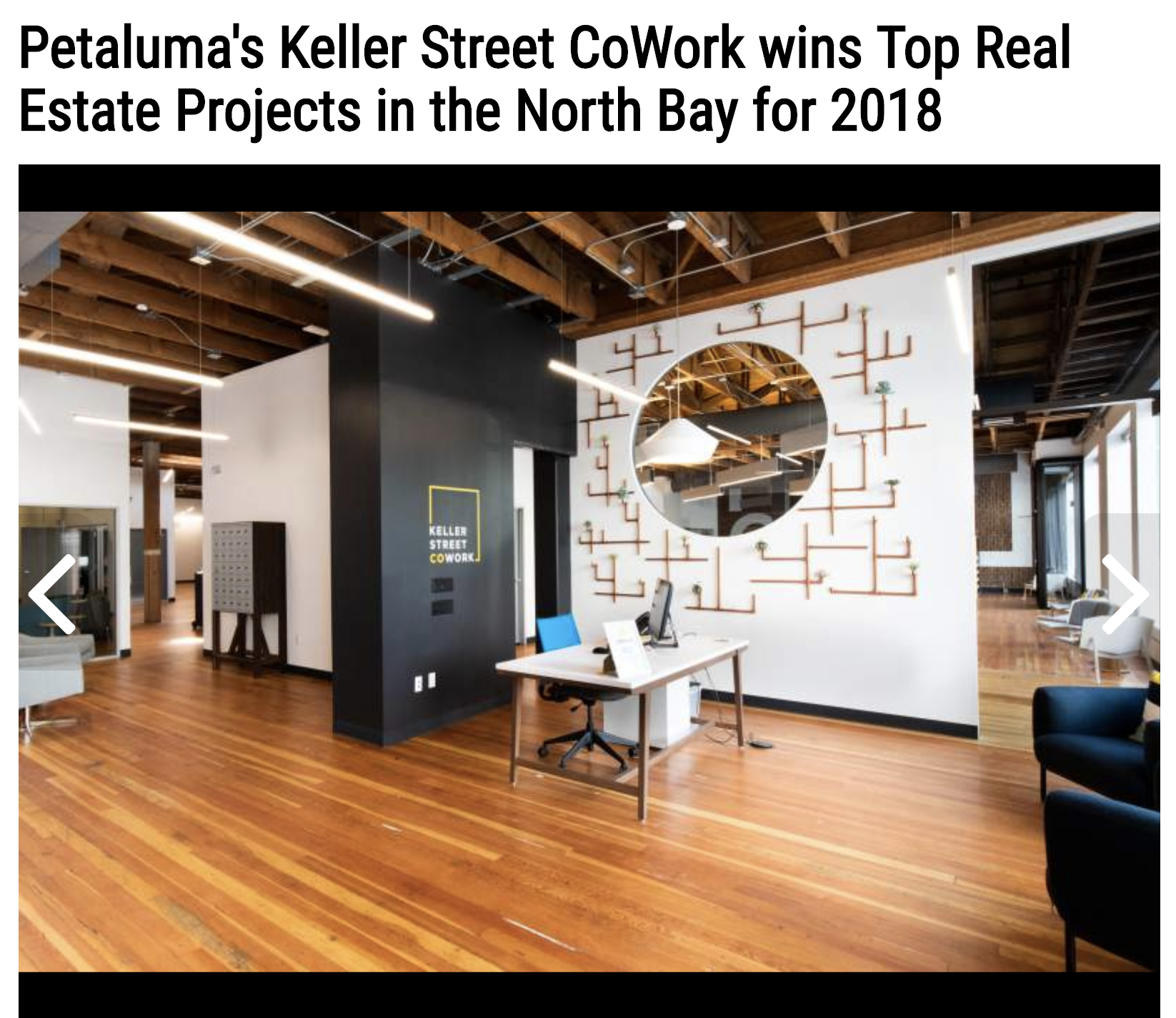 North Bay Business Journal - Keller Street CoWork wins Top Real Estate Projects for 2018