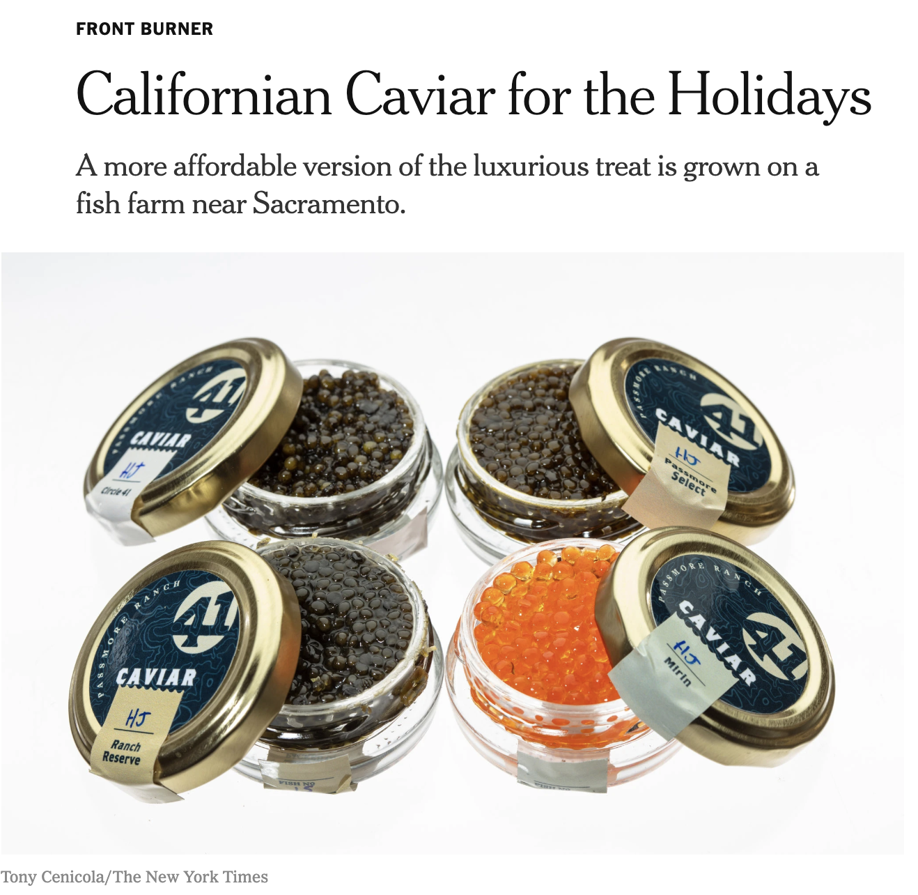The New York Times - Passmore Ranch Caviar featured in Florence Fabricant's Front Burner for the holidays in 2018.