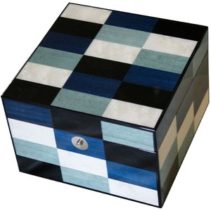 Chiara Jewelry Box - Ethereal collection in its refined combination of dark and light shades of blue.Demensions: 6x6x4