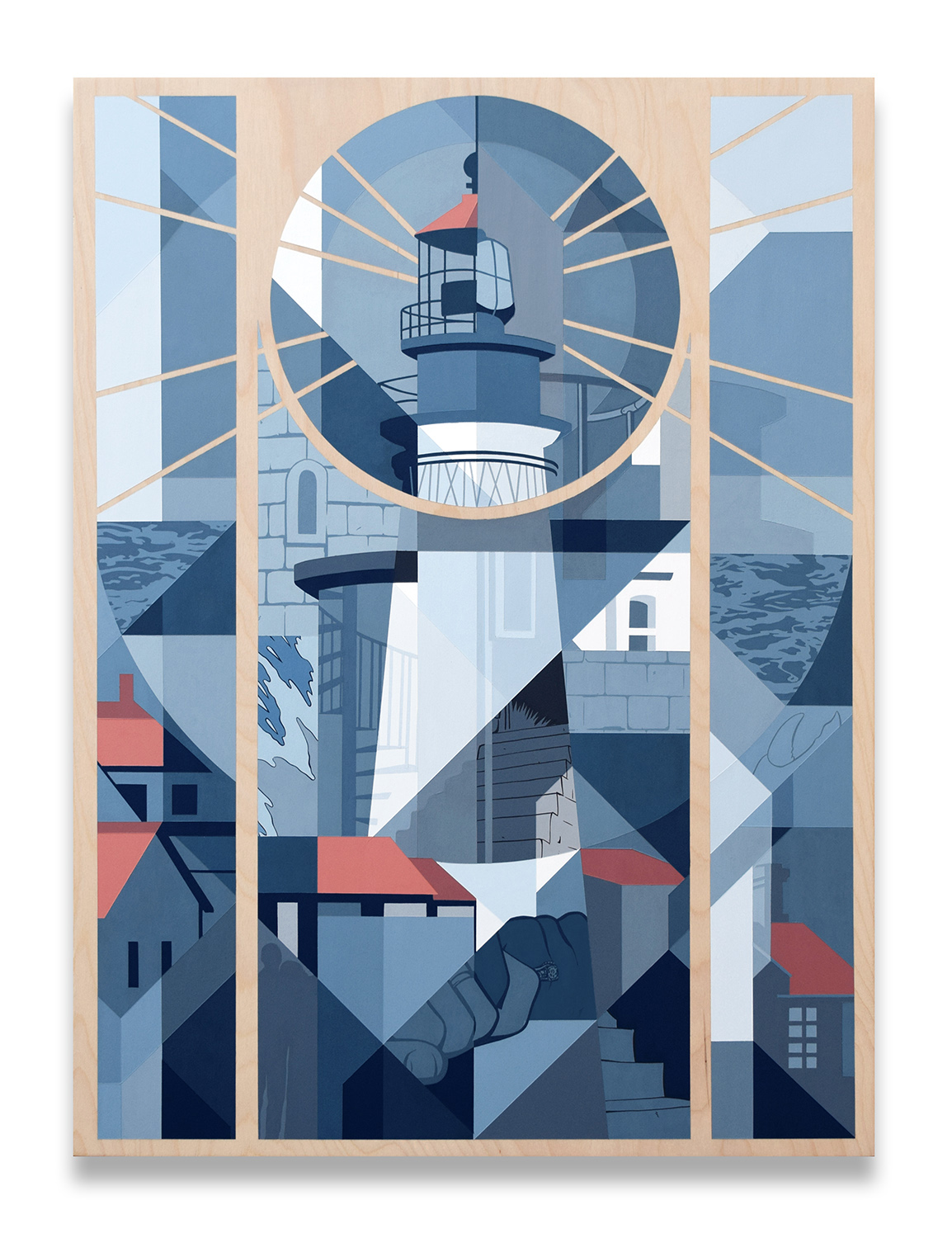 """Portland Head Lighthouse"" 56cm x 76cm (22"" x 30"") Acrylic painting on birch panel."
