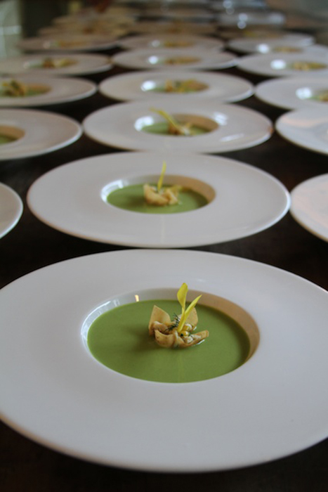 Chilled Pea Soup with Crab Meat Tart