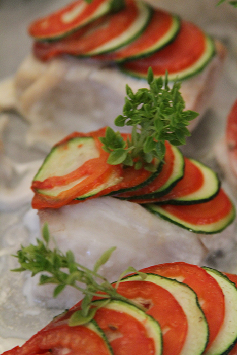 Zucchini and Tomato Scaled Sea Bass