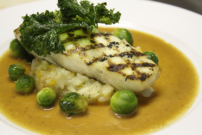 Grilled Halibut with Kale, Brussel Sprouts, and Risotto
