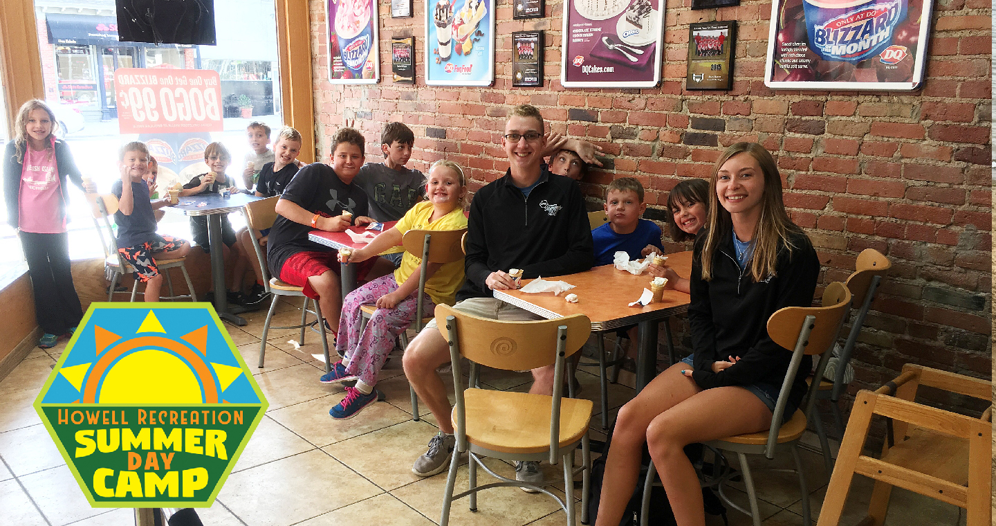 The Summer Day Camp Kids Gather With Several Counselors At Dairy Queen.