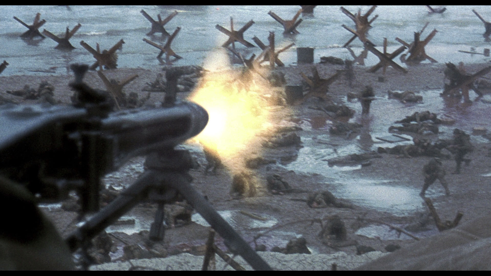 Envision the Omaha Beach scene from  Saving Private Ryan , but replace the Nazis with American Marines and replace the American Soldiers with dinosaurs, and you have a real fucking end to a movie worthy of a new Oscar category - Gratuitous Use of Fan Fiction Orgy Material.